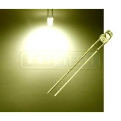 LED dioda 3mm teplá bílá ploché čelo 100°