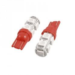 LED žárovka T10 W5W 9x 3SMD červená