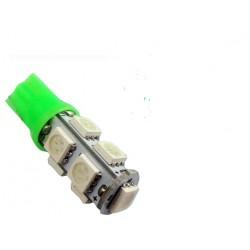 LED žárovka T10 W5W 9x 3SMD zelená