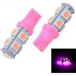LED žárovka T10 W5W 9x 3SMD růžová