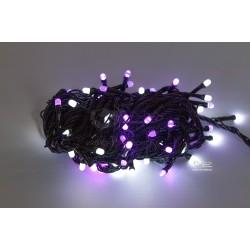 Vánoční LED řetěz - osvětlení - Fialovo / Bílé - 100 LED 10 metrů
