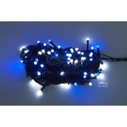 Vánoční LED řetěz - osvětlení - Modro / Bílé - 100 LED 10 metrů