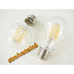 Stmívatelná LED žárovka E27 8W FILAMENT teplá bílá