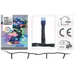 Venkovní LED řetěz - osvětlení - Barevné - 120 LED 9+3 metrů