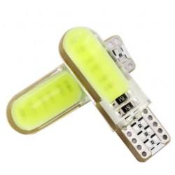 LED žárovka T10 W5W COB3 boční svit bílá