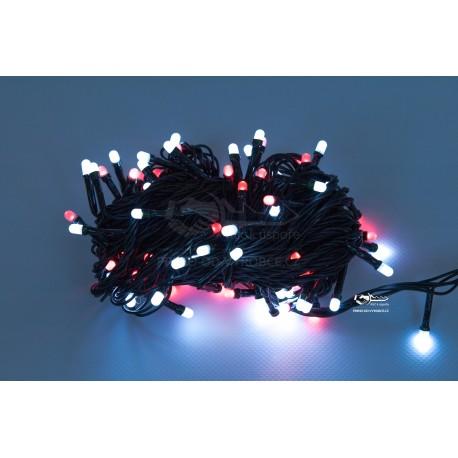 Vánoční LED řetěz - osvětlení - Červeno / Bílé - 100 LED 10 metrů