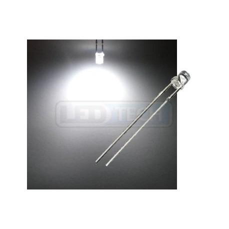 LED dioda 3mm studená bílá ploché čelo 100°