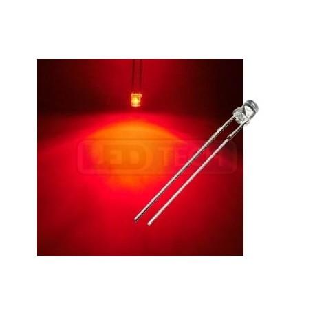 LED dioda 3mm červená ploché čelo 100°