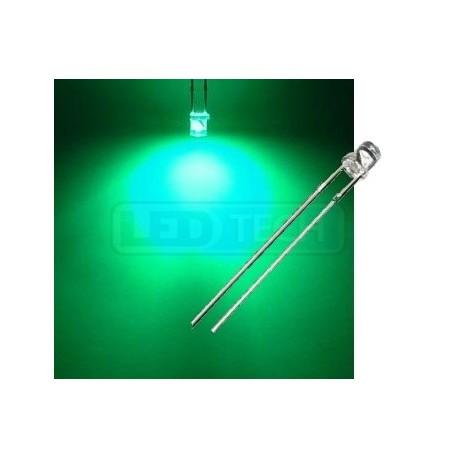 LED dioda 3mm zelená ploché čelo 100°