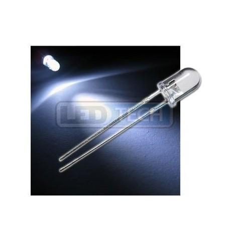 LED dioda 5mm studená bílá round 30°