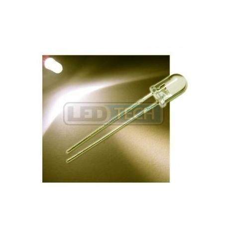 LED dioda 5mm teplá bílá round 30°