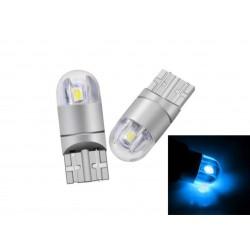 LED žárovka T10 W5W 2 smd 3030 boční svit ledová modrá