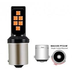 LED žárovka BAU15S 3030 LED 6W oranžová