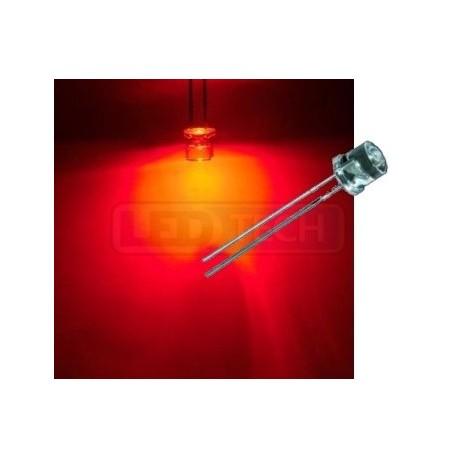 LED dioda 5mm červená ploché čelo 100°