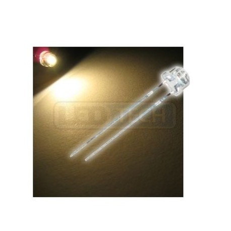 LED dioda 5mm teplá bílá straw hat 120°