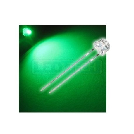 LED dioda 5mm zelená straw hat 120°