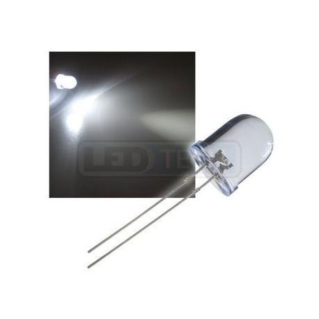 LED dioda 10mm studená bílá round 30°