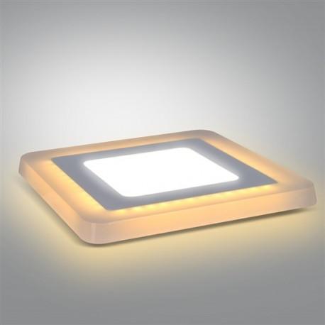 LED podsvícený panel, podhledový, 12W+4W, 900lm, 4000K, čtvercový