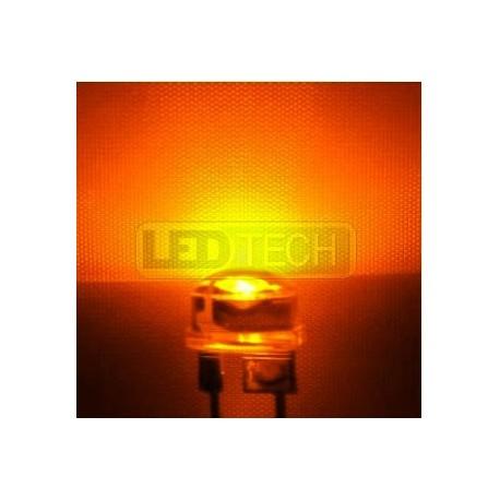 LED dioda 8mm straw hat 0.5W jantarová